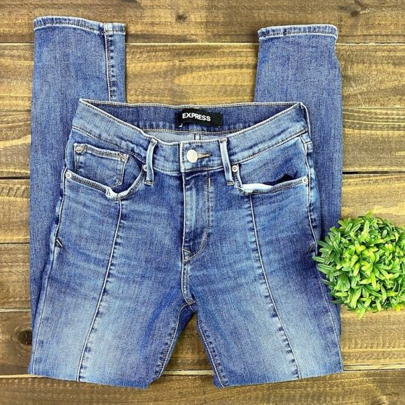 Express Skinny Jeans Size 2 Regular Mid Rise Stretch Denim Jeans